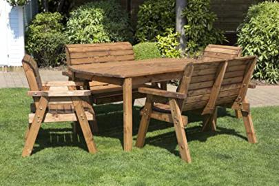 UK Made Fully Assembled Heavy Duty Wooden Garden 6 Seater Dining Set With Rectangular Table - 180x95cm Table, 2 Garden Chairs and 2x 2 Seater Garden Bench