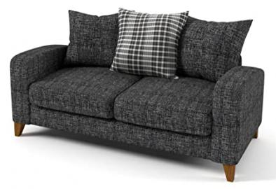 Sofabella Lily Cream Check Cotton Drill Style Fabric 2-Seater Sofa with 3 Scatter Back Cushions, 168 x 90 x 90 cm, Grey