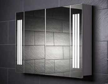 "Mirror Cabinet Galdem LOFT 100 / Large Bathroom Cabinet 39"" / 2 Doors / With Trendy Lighting T5 Fluorescent Lamp / Soft-Close Function / Socket / Badezi"