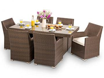 Tuscany Outdoor Contemporary Brown Rattan Wicker Weave 6 Seat Patio Dining Set