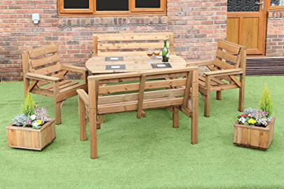 4 FEET 6 INCH WOODEN GARDEN FURNITURE PATIO SET TABLE +2 BENCHES AND 2 CHAIRS