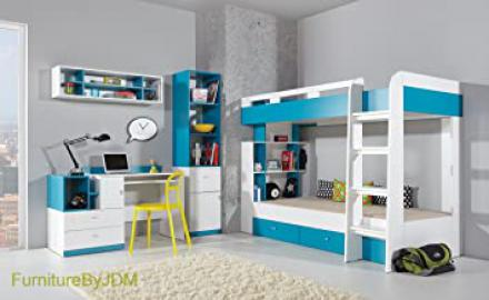 High Sleeper/Bunk Bed Composition MOBI System 19. Kids/Children Furniture Set. Bunk Bed (mattress not Included), Desk, Wall-mounted Shelve, Free Standing Display Unit.
