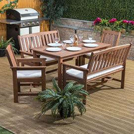Alfresia Monaco Rectangular Wooden Garden Dining Set with Cream Cushions