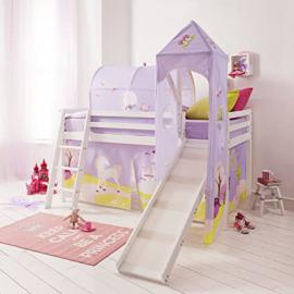 Cabin Bed Mid Sleeper Princess Fairytale in White with Tower & Tent 6970-WG-FAIRYTALE