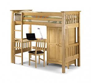 Julian Bowen Bedsitter Single Bunk Bed, Natural Pine