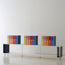 Bookcase SKAFFA modular white shelving cm.250 x 49h x 30 Modern design . Made in Italy