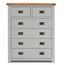 Birlea New Hampshire 4 + 2-Drawer Chest - Wood, Grey and Oak
