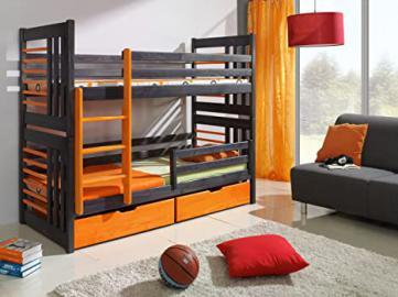 ROLAND Children Bunk Bed - Pine Wood - 24 Colours - 2 Sizes - 4 Types of Mattresses (UK Standard 199cm x 94cm x 160cm)