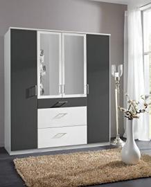 Click Black White 2/3/4 Door Mirrored Wardrobe Drawers Bedroom Furniture German Mirror 100% Made in Germany (4 Door)