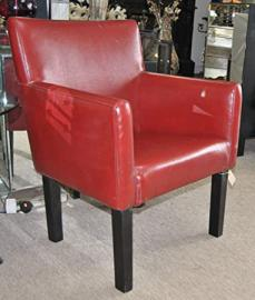 Red Leather Retro Modern Chair With Black Wooden Legs