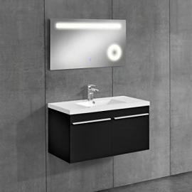 bathroom furniture / LED mirror washbasin base cabinet / cosmetic zoom mirror / bathroom / sink / illuminated mirror / cupboard / black / mirror 50x90 cm
