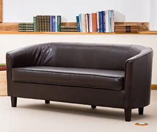 Sofa Collection Brand New Abbeville 3-Seat Tub Chair/Sofa Seating, Faux Leather, Brown, 66 x 169 x 71 cm