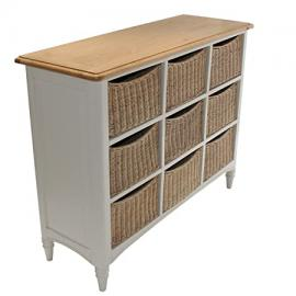 Melford Painted Multi Chest Nine Drawer Storage Unit Wicker Baskets Oak Top Storage Units With Baskets