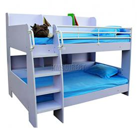 FoxHunter MDF Wooden Frame Bunk Bed Single 3FT With Shelves Children Kids Boys Girls Sleeper BBWS01 White No Mattress