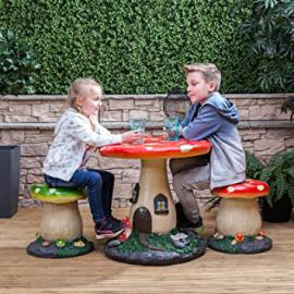 Kids Mushroom Outdoor Garden Patio Furniture Set - Fairytale Style Table and Chairs for Children by Alfresia