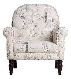 Leader Lifestyle Henry Armchair in A Beige Fabric with English Script, Wood