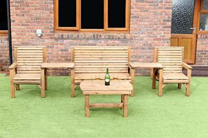 WOODEN GARDEN FURNITURE PREMIUM STRAIGHT COMPLETE SET COFFEE TABLE 1 BENCHES 2 CHAIRS AND 2 DETATCHABLE TRAYS