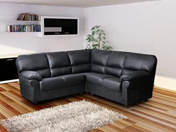 Candy - Corner Sofa - 4 Seater Symmetrical Shape - PU Leather - Black