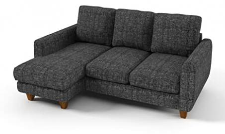 Sofabella Lexi Corner Sofa with Cotton Drill Style Fabric, 196 x 150 x 82 cm, 2-Piece, Grey Weave