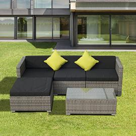 Outsunny Rattan Wicker Conservatory Outdoor Garden Patio Furniture Lounger Sofa Stool Set - Grey