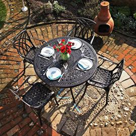 Lazy Susan Furniture - Alice 120 cm Round 4 Seater Cast Aluminium Garden Set - Antique Bronze (April chairs)