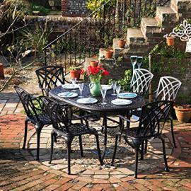 Lazy Susan Furniture - June 150 x 95 cm Oval 6 Seater Cast Aluminium Garden Set - Antique Bronze (April chairs)