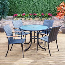Naples Round Garden Dining Set - 4 Seater Outdoor Furniture