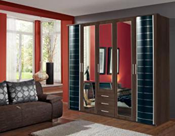 Wardrobe German made Walnut Black Wimex 5 Doors & 3 Drawers 7 Star Furniture German Made Best guaranteed quality direct seller, 5 Doors 225 cm