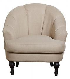 Leader Lifestyle Charles Armchair in Elegant Cream Fabric, Wood, Beige