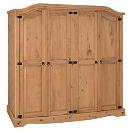 Mercers Furniture Corona 4-Door Arch Top Wardrobe - Pine