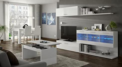 Alessia - ARAL VETRO Living Room TV Cabinet - WHITE GLOSS -  (155x42.5x12.7)