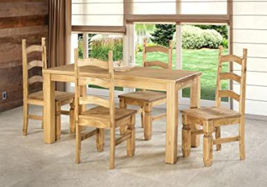 Sofa Set 160 x 80 cm Dining Table + 4 Chairs Solid Pine Wood Mexican in Brasil