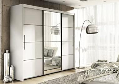 Inova White 3 Door Sliding Door Wardrobe 250cm (P4RU4125)