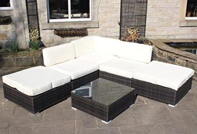 Rattan Outdoor Corner Sofa Set All Weather Garden Furniture in Brown