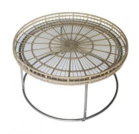 Gallery Direct Mandelay Round Coffee Table, Glass, Natural