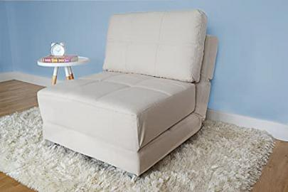 Leader Lifestyle Rita Fabric Futon Chair Bed, Beige