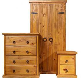 Farmhouse Bedroom Set (2 Door Wardrobe + Bedside Table + 4 Drawer Chest)