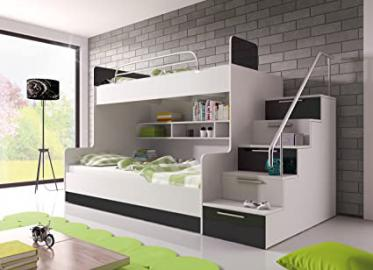 """BUNK BED """"TALA"""" WITH MATTRESSES for 2 children, FUNCTIONAL DESIGN, HIGH GLOSS INSERTS (White with Black Details)"""