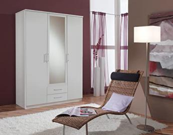 furniturefactor Roma 3-Door 2-Drawer Wardrobe, Wood, Matt Alpine White