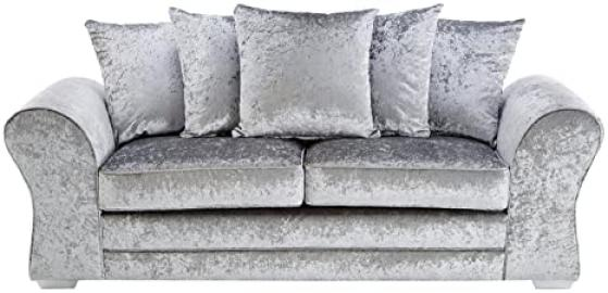 FurnitureStopUK -  Venus 3 Seater Sofa Crushed Velvet, Silver, Wood