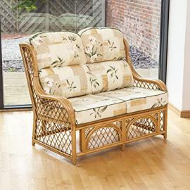 Alfresia Cadiz 2 Seater Cane and Diamond Lattice Sofa with Luxury Cushions (Harrogate Natural)