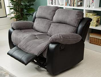 Lovesofas New Luxury California 3 2 1 Jumbo Cord/Faux Leather Recliner Sofa Variations - Grey / Black (2)