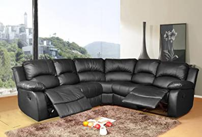 Lovesofas Valencia 2C2 Bonded Leather Recliner Corner Suite - Black