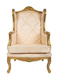 QUEEN ANN WINGBACK ARMCHAIR ANTIQUE STYLE SHABBY CHIC GOLD DAMASK GILT