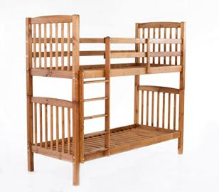 Ambientehome Bunk Bed Sweden Solid Wood Carving Brown 213x98,5x190cm Very Stable. Can be used as 2single beds.