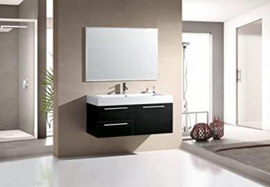 Beautiful Vanity Unit with Ceramic Bathroom Set Bathroom Furniture Bathroom Basin + Mixer Tap + Push Up Black (PP702)