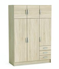 "Demeyere ""Magnum"" 3 Plus 3-Door 3-Drawer Wardrobe, Wood, Brushed Oak/White Pearl"