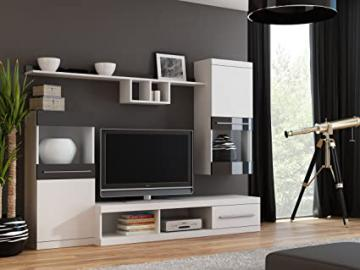"""BMF """"NICK"""" Wall Unit with Standing Hanging Cabinets TV Stand Shelves - Medium Sized Rooms - 220cm Wide - WHITE / BLACK"""