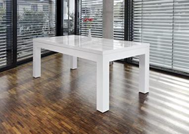SalesFever Luke extendable white high gloss dining table 180x90 cm