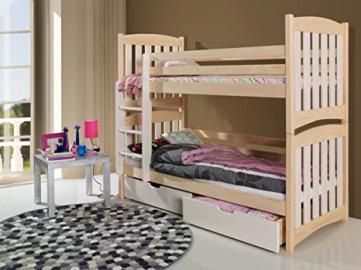 SERAFIN Children Bunk Bed - Pine Wood - 22 Colours - 2 Sizes - 4 Types of Mattresses (UK Standard 199cm x 94cm x 160cm)